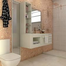 Piso colorido feito em granilite decora o banheiro neutro. Casa Dos Personagens Banheiro Da Rebecca Hall Yoshida