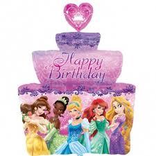 Disney Princess Birthday Cake Shape Foil Balloon Kids Themed Party