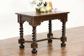 dutch antique oak library hall or console table kitchen island spiral legs