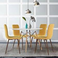 Yellow dining room chairs Contemporary Image Is Loading Setof4moderndiningchairsmustardyellow Ebay Set Of Modern Dining Chairs Mustard Yellow Fabric Cushion Kitchen