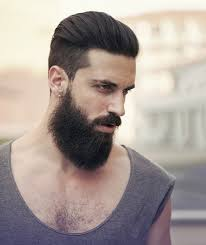 Slicked Back Barbe Paisse Homme Coiffure Coupe Rase Cotes