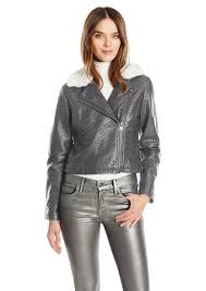 members only women s faux leather moto jacket with contrast faux fur collar l