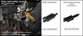 electrical system turns off cruise control system when clutch pedal is pressed wired into brake light switch