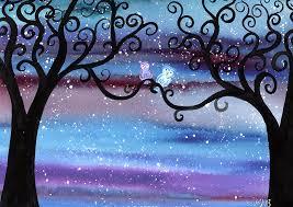midnight meeting original watercolor painting by kirsten bailey