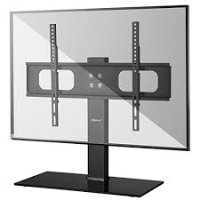 ollieroo table top tv stand for most 32 60 inch tvs black glass base height adjule