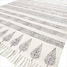 eyes of india 5 x 8 ft black white cotton block print area accent dhurrie rug weave boho chic indian bohemian
