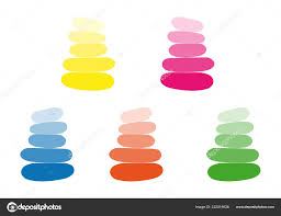 Color Groups For Design Five Groups Stones Cairns Various Bright Color Simplicity