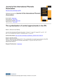 What is the international phonetic alphabet (ipa) used for? Pdf The Symbolization Of Central Approximants In The Ipa