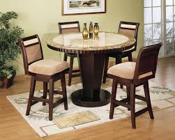 elegant dining room with wooden round brown marble faux top table set under 200 dark