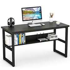 Image Custom Wall Tribesigns Computer Desk With Bookshelf 55quot Simple Modern Style Writing Desk With Metal Legs Amazoncom Amazoncom Tribesigns Computer Desk With Bookshelf 55
