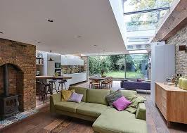 living room extension. modern extension of semi detached house in north london living room c