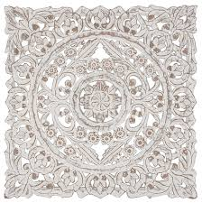 rustic carved fl medallion design on wooden wall panel