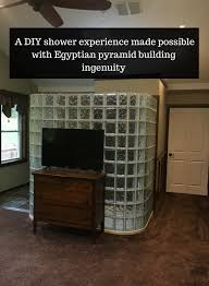 a diy glass block shower experience made possible with egyptian pyramid building ingenuity innovate building