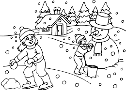 Playing Snow In The Winter Coloring Pages Printable Winter