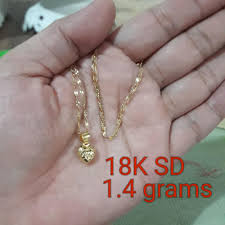 18k pure saudi gold necklace with pendant