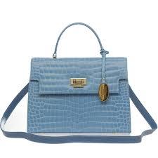 add to my lists giordano italian made sky blue crocodile embossed leather purse
