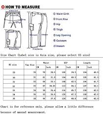 Asian Clothing Size Chart To Us Mens Skinny Straight Fit Work Pants