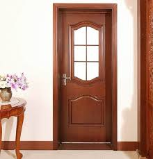 solid wood interior single french door with glass panel inserted