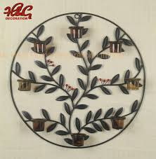 china round metal leaf wall sconce