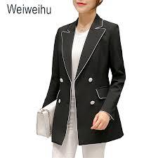 office coat. 2017 womenu0027s blazer solid black long blazers double breated coat slim office lady jacket female top f