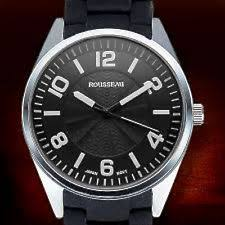 rousseau watches new rousseau armand 62623492 mens metal silicone band ss analog black dial watch