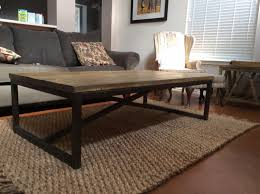 custom made rustic x brace coffee table with recycled metal frame