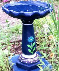 my concrete birdbath i painted