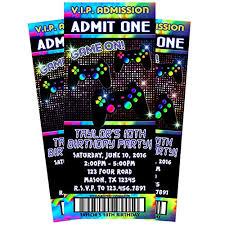 Party Ticket Invitations Adorable Amazon Video Game Birthday Invitations Game Truck Ticket Invite