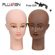 plussign bald mannequin head and stand set 21 no hair female manikin head for makeup practice hat display wig making