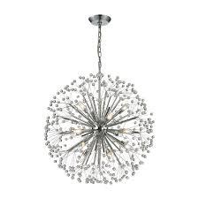 11546 16 starburst 16 light chandelier in polished chrome and crystal