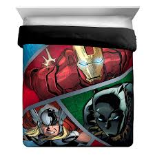 marvel avengers metal full queen reversible comforter size set sham piece with iron man black panther