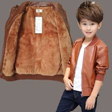 kindstraum 2018 new children pu leather jacket brand boys plush cotton coat winter solid fashoin outwear