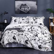 19 momme marbling print silk bedding set white marble print