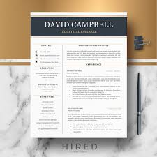 How Many Pages Is A Modern Resume R42 David Campbell Modern Resume Template For Engineers Professional Resume For Word Pages Editable Resume Template Cover Letter