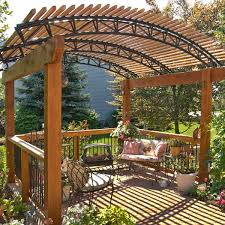 this free standing pressure treated wood pergola will provide shade while sitting in the soon