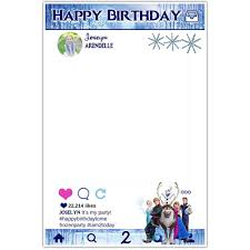 frozen selfie frame photo booth birthday photo prop poster