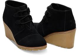 black toms black suede with faux crepe women s desert wedge booties womens