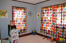 Adorable Playroom Curtain Colorful And Wall White Color