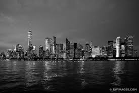 >photo print of manhattan skyline night city lights freedom tower new  manhattan skyline night city lights freedom tower new york city new york black and white