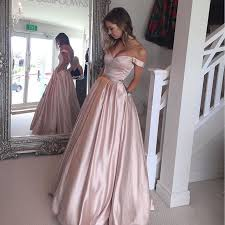 Prom Dress Color Chart Gorgeous A Line Off The Shoulder Pink Satin Long Prom Dress