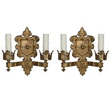 beautiful pair antique spanish revival double arm sconces wall sold mounted candle holders lights vintage retro crystal whole outdoor gas lanterns fireplace