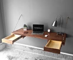Walnut Floating Desk With Storage