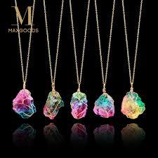 <b>Rainbow</b> Stone Pendant Necklace <b>Fashion Crystal</b> Chakra Rock ...