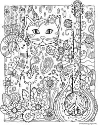 Small Picture adult cat guitar Coloring pages Printable