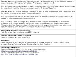 how to use elimination method math teacher note this activity might be completed in pairs to