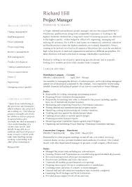 Examples Of Project Management Resumes Sample Project Management