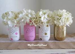 Ball Jar Decorations Pink and Gold Mason Jar Centerpieces Baby Shower Mason Jars 41