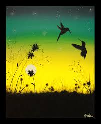 original abstract acrylic painting canvas hummingbirds silhouette sunset stars yellow lime green teal valentine s gift idea birds love