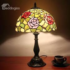 glass flower lamp inch tempting style fl pattern stained glass table lamp glass lamp shade vase