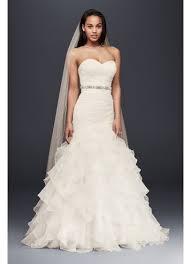 organza mermaid wedding dress with ruffled skirt david s bridal